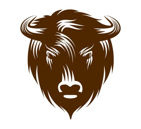Illustrazione della testa di bufalo isolato su sfondo bianco Vettoriali