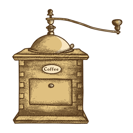 coffee grinder: Illustration of retro coffee mill isolated on white background Illustration