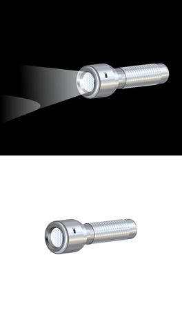 searchlight: Illustration of pocket torch on white and black background