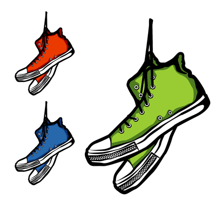 Hand-drawn set of three sneakers, vector illustration