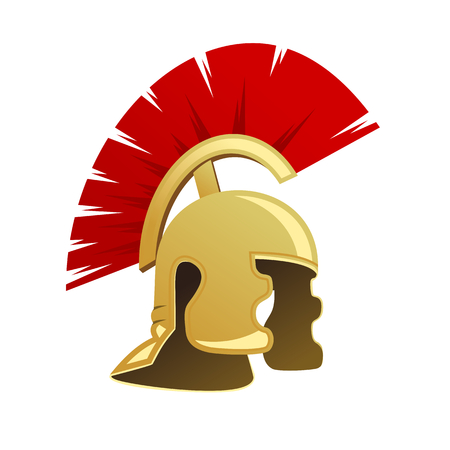 ancient roman: Ancient warrior helmet isolated on white background