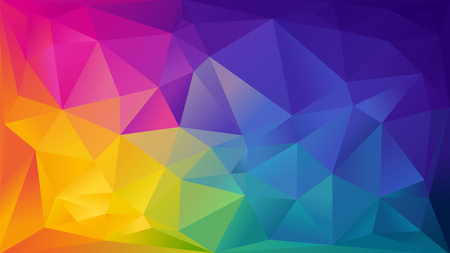 red color: Abstract rainbow background consisting of colored triangles