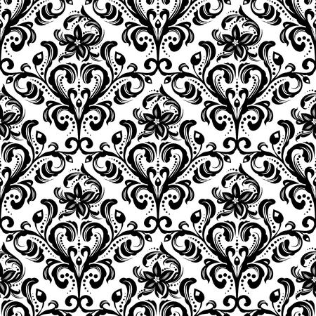 Black and white seamless damask wallpaper pattern Vettoriali