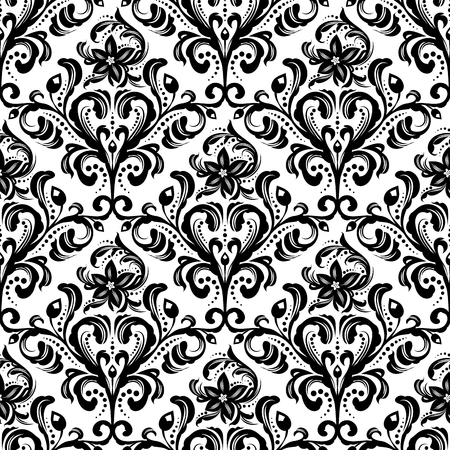 Black and white seamless damask wallpaper pattern Illustration