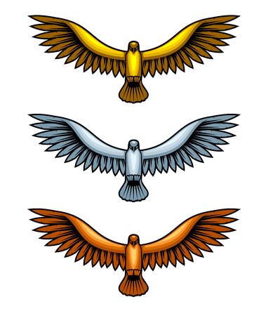 Golden, silver and bronze hawk figures, set of metal birds