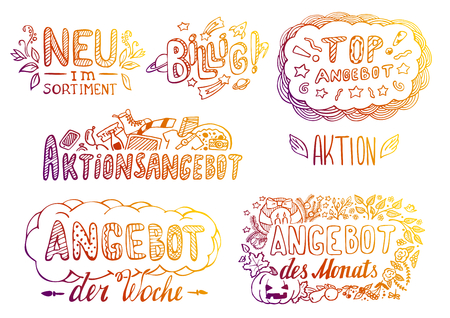 Set of hand-drawn colorful labels in German Illustration