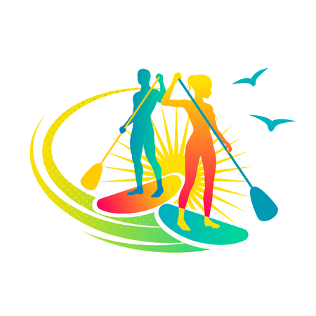 Man and woman standing on the paddleboards Vectores