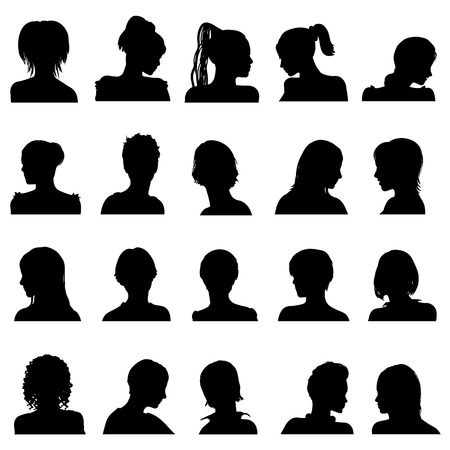 head on shoulder: Twenty vector anonymous avatar set isolated on white