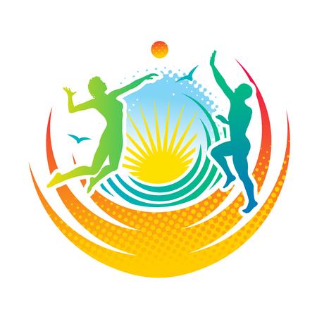 pelota de voleibol: El hombre y la mujer jugando voleibol en la playa Vectores
