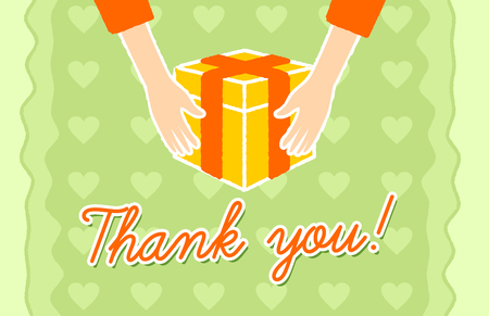 gratefulness: Thank You card with a hands giving a gift Illustration
