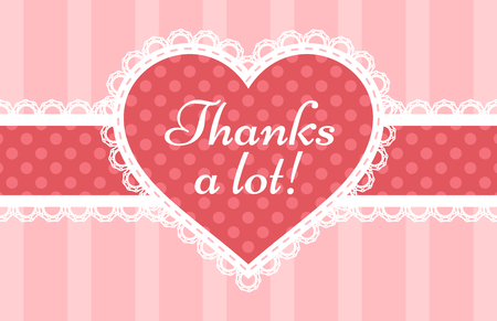Thank You card with a laced pink heart