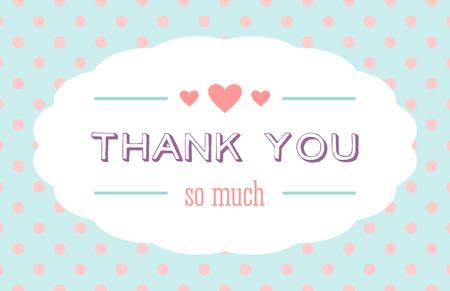 agradecimiento: Gracias tarjeta con una etiqueta blanca y corazones