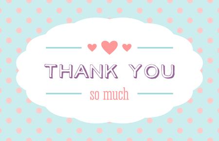 Thank You card with a white label and hearts