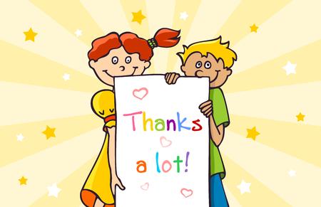 agradecimiento: Gracias tarjeta con dos hijos