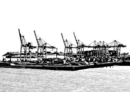 tall ship: silhouettes of harbor cranes isolated on white