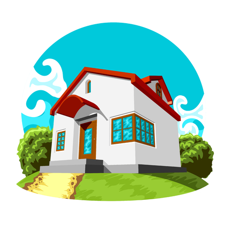 residential home: Illustration of small vector house on the green lawn