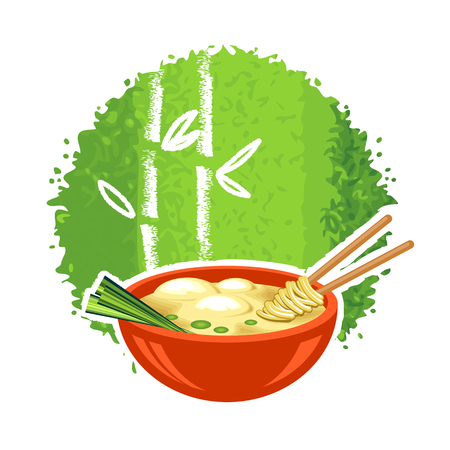 noodles soup: Red bowl with a chinese dumpling and chopsticks Illustration