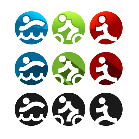 triathlon: Triathlon icons, three different styles, round shape Illustration