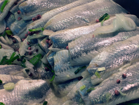 oceanic: Oceanic herring fillet on market, food background