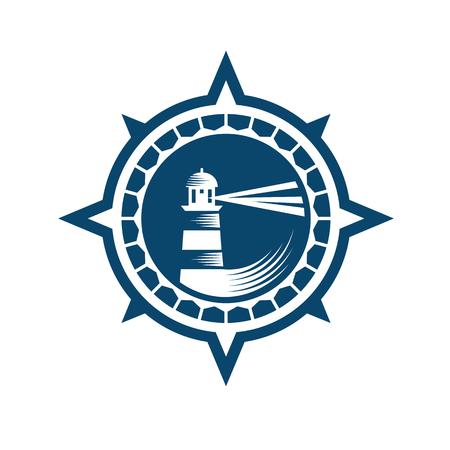 lighthouse: Lighthouse emblem in retro style, blue on the white background