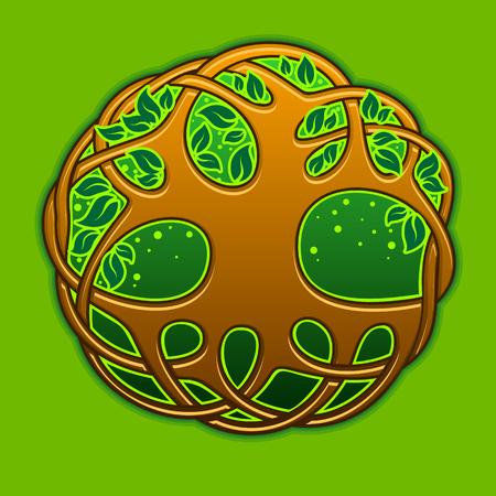 Rbol celta de la vida en el fondo verde Foto de archivo - 39817738