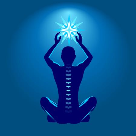 espina dorsal: Spine ilustración salud, hombre con estrella brillante en las manos