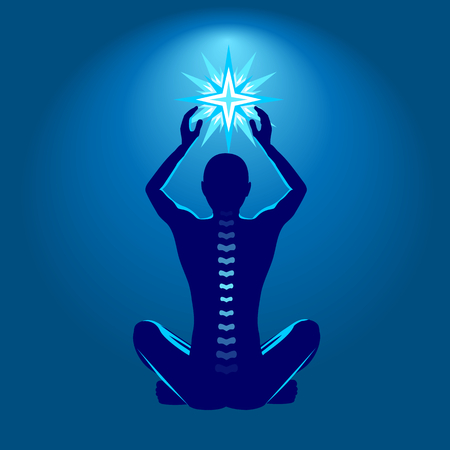 Spine health illustration, man with shining star in hands Illustration