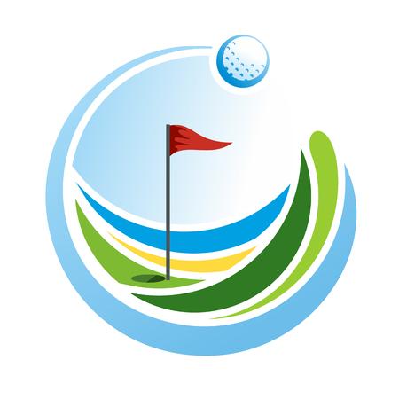 抽象的なゴルフのエンブレム、ゴルフのロゴ、グリーン フィールド