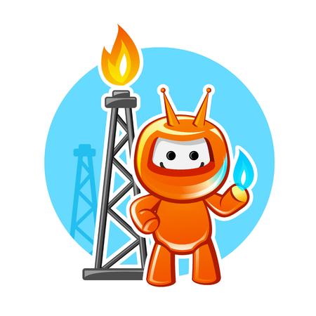 producing: Natural gas producing industry mascot, vector illustration