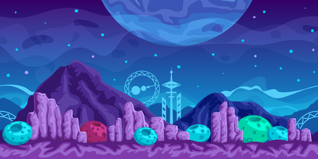 alien landscape: Fantasy  seamless background for mobile game, layered Illustration