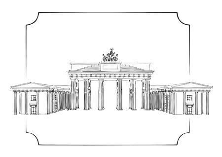gates: Vector illustration of Brandenburg gate isolated on white background