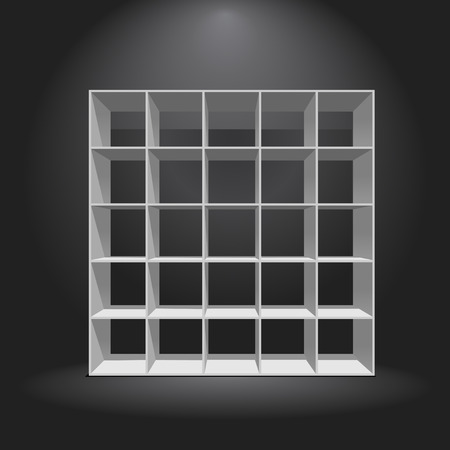 single shelf: Empty white bookshelf on darl background, white illustration