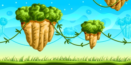 fantasy world: Fantasy  seamless background for mobile game, layered Illustration