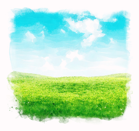 Watercolor sky and grass background.