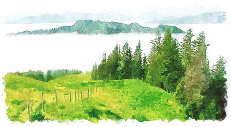panoramic nature: Illustration of Obermaiselstein, german Alps in Bavaria, watercolor imitation