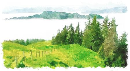 Illustration of Obermaiselstein, german Alps in Bavaria, watercolor imitation