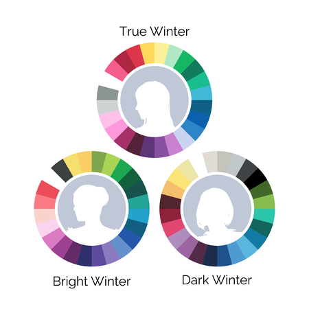 winter colors: Winter type color palletes, three variations, vector illustration