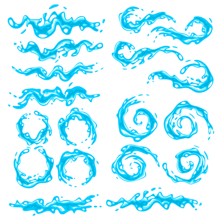Collection of various water splashes, vector illustration Illustration