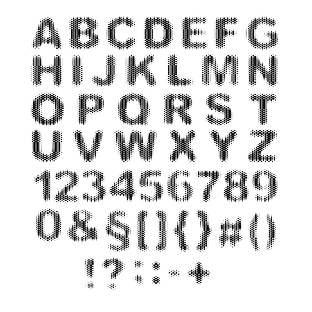 Vector halftone alphabet, halftone letters, dotted font