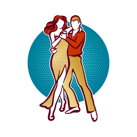 tango: Illustration of tango dancers, man and woman dancing