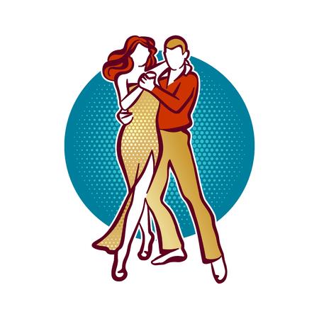 woman in love: Illustration of tango dancers, man and woman dancing