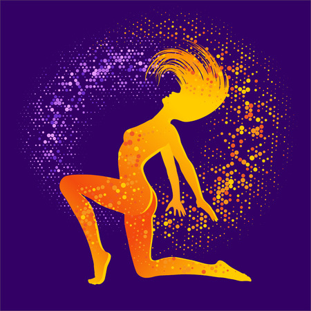 women body: Illustration of dancing  woman,  orange silhouette on dark background