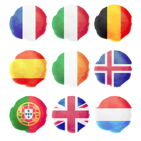 Set of watercolor flags, nine vector icons Illustration