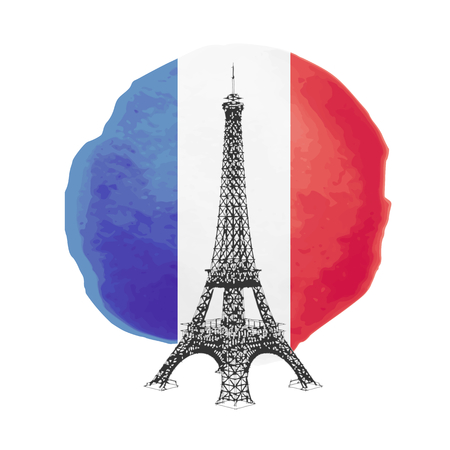 french flag: Illustration of Eiffel Tower on the flag of France, vector illustration