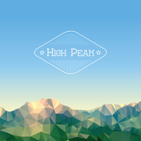 Illustration of low polygonal mountains, vector background