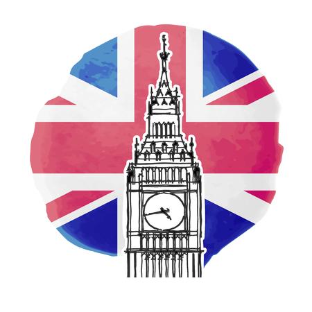 palace of westminster: Illustration of Big Ben on the background of british flag Illustration