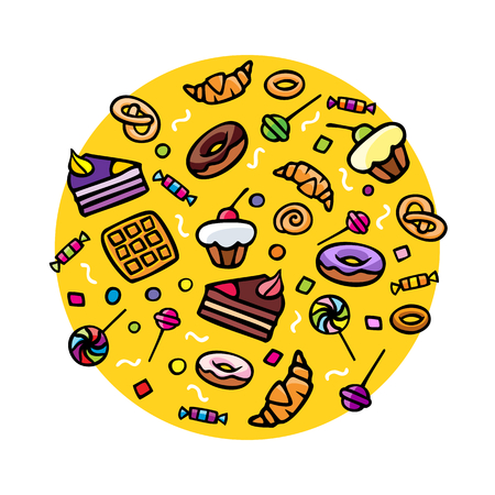 jellybean: Collection of various hand-drawn sweets, vector illustration