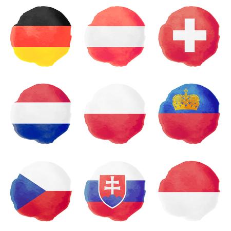 czech switzerland: Insieme degli ambiti di bandiere europee, icone nove vettore