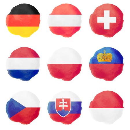 national flag: Set of european watercolor flags, nine vector icons Illustration