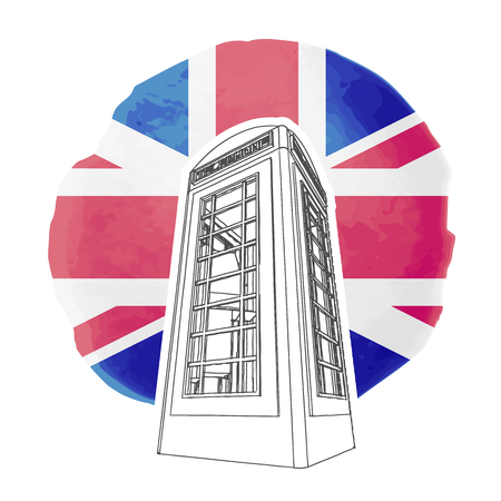 telephone booth: Illustration of red london telephone booth on the background of british flag